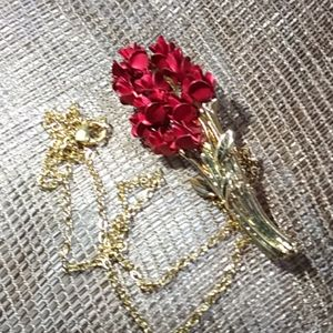 Roses on Thorny Stem 18Kt GOLD over Steel